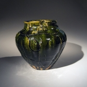 Takauchi ShÅ«gō (b. 1937), Mino ware, Oribe type tsubo (vessel) with wide raised mouth and carved irregular linear patterning