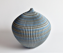 """Ogata Kamio (b. 1949), Neriage (marbleized) vessel with carved, ridged surface titled """"Abyss"""""""