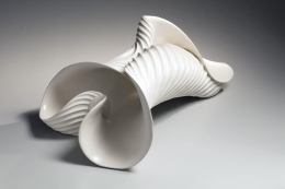 "Inaba Chikako (b. 1974), White curled up leaf-shaped sculpture ""Vessel"""