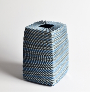 """Ogata Kamio (b. 1949), Neriage (marbleized) vessel with carved, ridged surface titled """"Waves"""""""
