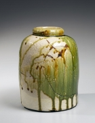 Koie, Ryoji, Koie Ryoji, contemporary, ceramics, Japanese, pottery, clay, green, oribe, glaze, round, vessel, dragonfly, eye, effect, incised, decoration, 2000, stoneware