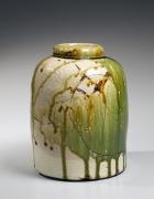 Koie, Ryoji, Koie Ryoji, contemporary, ceramics, Japanese, pottery, clay, green, oribe, glaze, round, vessel, dragonfly, eye, effect, incised, decoration, 2000, stoneware
