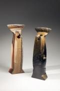 Kakurezaki, Ryuichi, Kakurezaki Ryuichi, bizen, stoneware, black, hidasuki, contemporary, Japanese, ceramics, figure, sculpture, 2010