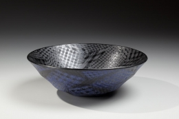 Bowl with checkered patterning, 2015, Japanese contemporary, modern, ceramics, sculpture