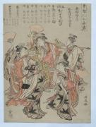 TORII KIYONAGA (1752-1815), In Kyōcho nichome (Edo) young women dance with fans during the Niwaka Festival