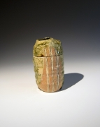 Suzuki Gorō (b. 1941), Mino ware, Narumi Oribe type, geometric-patterned tea caddy with matching cover