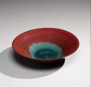 Kakuji (Kingfisher celadon red-type) low summer teabowl, 2017