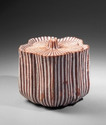 Suzuki Osamu, Japanese ceramic water jar, Japanese ceramic mizusashi, Japanese shino-glazed water jar, 1988
