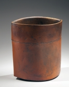 Ovoid vase with pointed sides and akadobe (slip glaze with red clay) glazing, 2012
