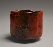 Nishihata Tadashi (b. 1948), Straight-sided Tamba teabowl, covered withakadobe(red slip glaze with iron)