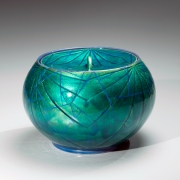 Ono Hakuko, Globular lidded water jar with applied gold foil, 1980s, Glazed porcelain, Japanese contemporary ceramics