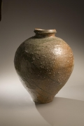 Large vessel with tapered base and natural ash glaze in dark brown, light brown, turquoise and green colorations, 2008