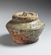 Kitaoji, Rosanjin, Kitaoji Rosanjin, modern, antique, Japanese, ceramics, clay, pottery, 1929, shigaraki, abacus, bead, waterjar, water jar, mizusashi, dripped, ash, glazed, stoneware