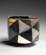 Ajiki Hiro (b. 1948), Faceted diamond-checkerboard basara teabowl