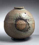 Tsujimura Shiro, Japanese stoneware with natural ash glaze, Japanese shigaraki, Japanese vase, ca. 1985