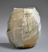 Nishihata Tadashi (b. 1948), Thickly walled vessel with diagonally carved bands covered in Tamba-style ash glaze