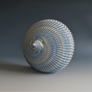 """Ogata Kamio (b. 1949), Neriage (marbleized) top-like sculpture with carved, ridged surface titled """"Lunar Landing"""""""