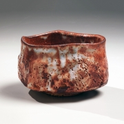 Kato, Yasukage, Kato Yasukage, teabowl, chawan, red, shino, white, glazed, uneven, mouth, 2009, contemporary, traditional, Japanese, ceramics, Japan, Japanese ceramics, pottery, clay
