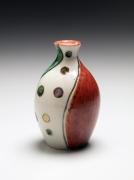 Three-color overglaze enameled sake flask, ca. 1940