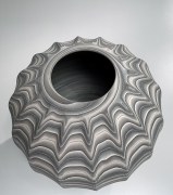 Ogata Kamio (b. 1949), Marbleized fluted striped vessel