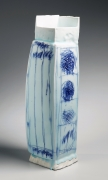Yoshikawa, Masamichi, Yoshikawa Masamichi, hand-built,  sculpture, bluish-white, seihakuji, glaze, 2012, porcelain, contemporary, ceramics, clay, Japanese, Japanese ceramics, Japan, pottery, tall, rectangular, vase, sometsuke, abstract, design