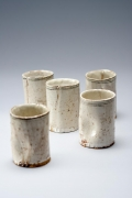 Yagi Kazuo, tea cups, Japanese ceramic, Japanese pottery, ca. 1955, Set of five tea cups, Japanese white-glazed ceramic