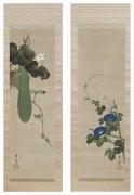 Suzuki Kiitsu (1796-1858), Pairofpaintings of blue morning glories paired with blossoming bottle gourd vine