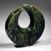Katō Yasukage (1964-2012), Oribe-glazed comma-shaped vase with textured surface