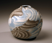 Small globular vessel, 1986, Japanese contemporary, modern, ceramics, sculpture, Living National Treasure