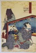 Utagawa Kunisada, (1786-1865),Genji stopping a courtesan as he is seated before a wintery screen, ch. 46,1859, 1st month, Oban tate-e diptych, diptych, Japanese woodblock print, Japanese ukiyoe, Japanese ukiyo-e, Japanese hanga, Japanese bijinga