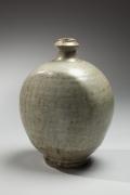 Shimaoka Tatsuzo, Flattened flask with raised mouth 1971, Glazed stoneware, Japanese contemporary ceramics