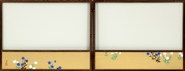 Kamisaka Sekka (1866-1942), Two-fold tea screen with flower paintings in inset panels, front and back