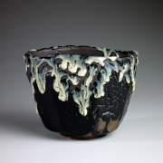 Tanaka, Sajiro, Tanaka Sajiro, black, karatsu, tapered, teabowl, chawan, dripping, ash, glazed, ash-glazed, stoneware, 2014, contemporary, traditional, ceramics, Japanese, Japan, Japanese ceramics, contemporary Japanese ceramics, pottery, tea, art gallery, art, New York, NYC