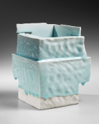 Yoshikawa, Masamichi, Yoshikawa Masamichi, hand-built, cube-shaped, ancient, Chinese, house, sculpture, bluish-white, seihakuji, glaze, 2012, porcelain, contemporary, ceramics, clay, Japanese, Japanese ceramics, Japan, pottery