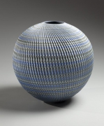 Ogata Kamio, Round, blue, green, gray, and white neriage vessel, 2015. Marbleized stoneware. Japanese modern, contemporary, ceramics, sculpture