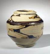Hamada Shoji, iron-oxide-glazed, tsubo, ca. 1945-1950, glazed stoneware, Japanese ceramics, Japanese pottery, Japanese tsubo, Japanese iron-oxide glaze, Japanese modern ceramics
