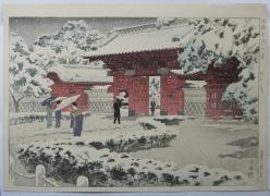 Kasamatsu Shirô (1898-1991), Red Gate at Hongō in snow;Hongōakamon no yuki