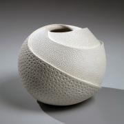 White vase with impressed patterning, 2017