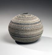 Matsui Kōsei (1927-2003), Brush-rubbed, neriage (marbleized) globular vessel