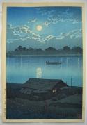 Kawase Hasui (1883-1957), Moon over the Arakawa River, Akabane