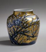 Gold overglaze porcelain vase with plum blossom design, ca. 1976