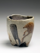 Ajiki Jun (b. 1982), Sage-colored teabowl with black-and-brown accumulating drip design and three-legged base