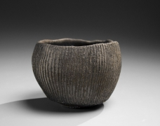 Round teabowl decorated with carved linear patterning in relief, 2016