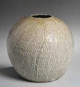 Nishihata Tadashi (b. 1948), Roundneriage(marbleized) vase with small mouth, striated surface patterning and Tamba-style ash glaze