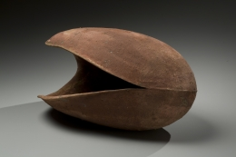 Ovoid, horizontal vessel with deep red slip glaze and wide mouth, 2008