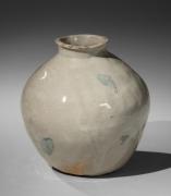 Kitaōji Rosanjin (1883-1959), Yellow Seto (ki-seto)tsubo-shaped vase with a copper-underglaze splash pattern