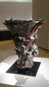 Celadon black-crystal paddled-up Zun-shaped vessel with trailing iron glaze, titled Babel, 2019