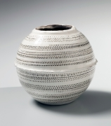 Yagi Akira, Japanese stoneware, Japanese ceramic vessel with black and white slip glazes, ca. 1980, homage to Yagi Kazuo