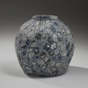 Blue and white Neriage (marbleized) vessel with floral patterning, ca. 1988