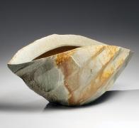 Nishihata Tadashi, Elongated tanba vessel, 2013, Japanese modern, contemporary, ceramics, sculpture